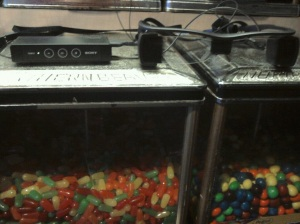 glasses on candy machine